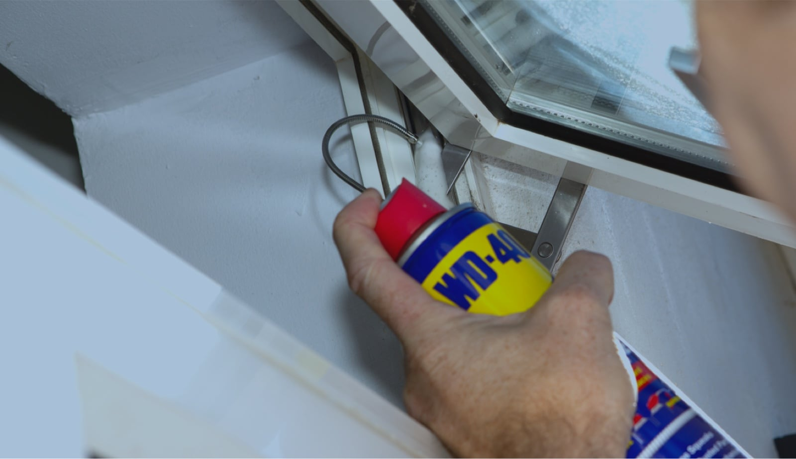 Window with WD-40 Flexible Straw System can